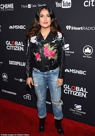 stand out salma hayek was unmissable in a very fancy gucci leather jacket at the