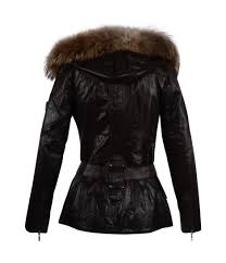dark brown leather las coat with detachable fur collar froccella 100 real leather