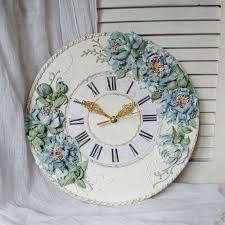 peony painting farmhouse wall clock
