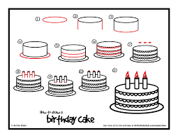 How To Draw A Birthday Cake Art For Kids Hub Doodle Bug Cake