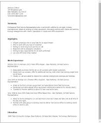 Field Service Representative Interest Field Representative Resume