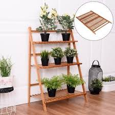 Image is loading Wooden-Flower-Pot-Shelf-Folding-Ladder-Shelves-3-