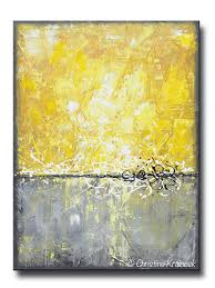 GICLEE PRINT Art Yellow Grey Abstract Painting Canvas Prints Contemporary  Beach Coastal Wall Art