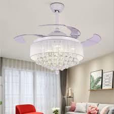 modern crystal chandelier ceiling fan light lamp fixture decor remote control