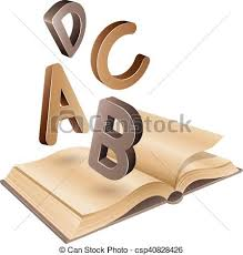 open old book and flying brown letters csp40828426