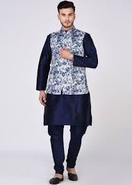 Designer Kurta Pajama With Basket Readymade Navy Blue Kurta Pajama With Nehru Jacket