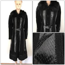 women jacket with genuine python skin suede leather and wool natural fox fur around