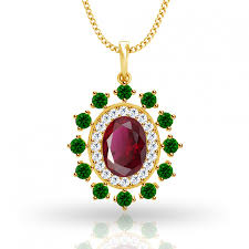 emerald ruby and diamond pendant