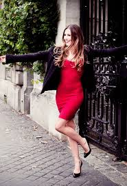 y red dress with black leather jacket