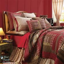 Red Rustic Log Cabin Plaid Twin Queen Cal King Size Lodge Quilt ... & Red Rustic Log Cabin Plaid Twin Queen Cal King Size Lodge Quilt Bedding Bed  Set Adamdwight.com