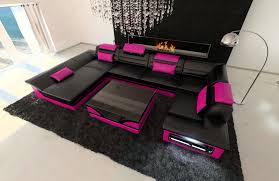leather sofa atlanta u shape black pink