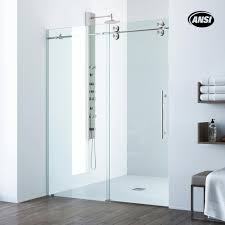frameless sliding shower door in stainless steel with clear glass and handle