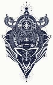 Vektorová Grafika Viking Tetování A Tričko Design Severní Válečník