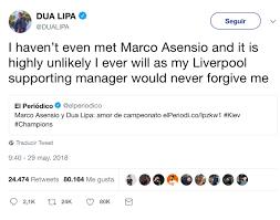 Dua Lipa habla sobre su relación con Marco Asensio - aMENzing