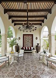 Lawn & Garden:Astounding Spanish Courtyard In Garden With White Antique  Table And Decorative Flooring