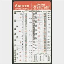 Starrett Drill Chart Printable Starrett Drill And Tap Chart Pdf Www Bedowntowndaytona Com