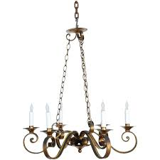 1970s six arm golden wrought iron chandelier with canopy and chain for