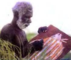 Население Австралии География Реферат доклад сообщение  Рис 103 Художник абориген создает панно