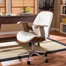 baxton studio rathburn white faux leather upholstered office chair