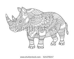 rhinoceros coloring book for s vector ilration anti stress coloring for tattoo