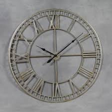 back huge industrial style silver skeleton wall clock roman numerals 120cm