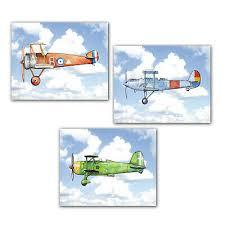 airplane blue sky boy nursery decor