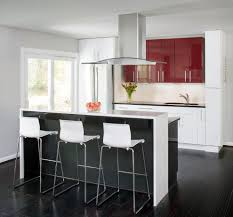 Red Floor Tiles Kitchen High Gloss Red Kitchen Contemporary With Waterfall Countertop