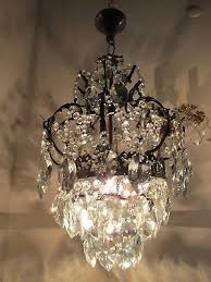 antique vnt french big cage style crystal chandelier 1940 s 12in Ø diamter