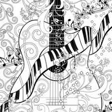 Small Picture Adult Coloring Page Printable Adult Guitar Coloring Poster Piano