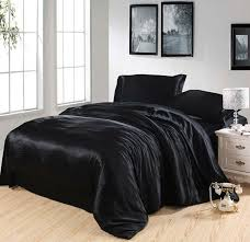 black silk bedding set satin california king size queen full twin double quilt duvet cover fitted bed sheets bedsheet doona bedding king silk satin silk