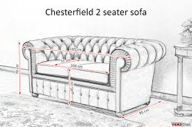 chesterfield 2 seater sofa size