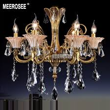 modern 6 arms brass crystal chandelier light fixture glass fl crystal re lamp with k9 crystal md8702 d650mmh600mm