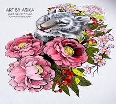 сообщество иллюстраторов иллюстрация тигр пионы эскиз тату Tiger