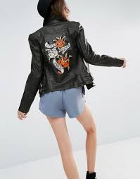rokoko leather biker jacket with embroidered back patch