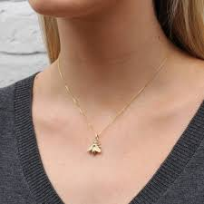 18ct gold vermeil or silver honey bee necklace