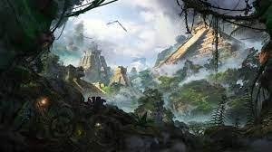 temple, jungle, artwork, fantasy art ...