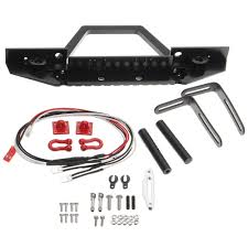 Car Front Bumper Led Lights Aluminum Front Rc Car Bumper With Led Light For Axial Scx10 Crawler 4wd Truck 1 10 Rc Car