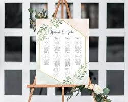 Picture Frame Seating Chart Greenery Seating Chart With Gold Frame
