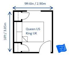 Amazing Minimum Bedroom Size For A Queen Bed 9ft 6in X 10ft (2.9 X 3.05m