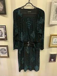 Velvet Striped Dress Nina Leonard Qvc Black Uk Size S