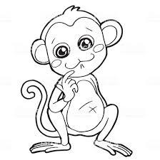 漫画かわいい猿の着色ページ ベクトル図 お絵かきのベクターアート素材