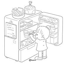 冷蔵庫をあける子どもつまみぐいイラストぬりえ 子供と動物の