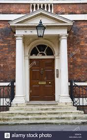 Brown front door of Georgian house in city of York North Yorkshire ...