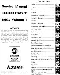 1992 mitsubishi 3000gt original repair shop manual set covers all 1992 mitsubishi 3000gt models including sl and vr 4 these books measure 8 5 x 11 and are 1 88 thick together buy now to own the best manual