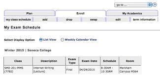your exam schedule is displa
