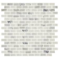 american olean genuine stone refined white brick marble mosaic floor and wall tile common