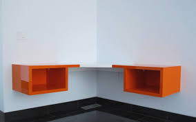 floating corner desk with storage