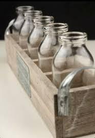 Decorative Milk Bottles Three Decorative Milk Bottles in Wooden Tea Crate Farmhouse 92