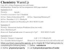 chemistry warmup copy all of these assignments into your binder  1 chemistry