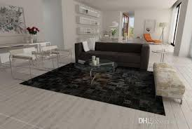 2017 trending products genuine leather brown and black patchwork cowhide rug squares design textured carpet carpet estimate from rugfur 642 42 dhgate com
